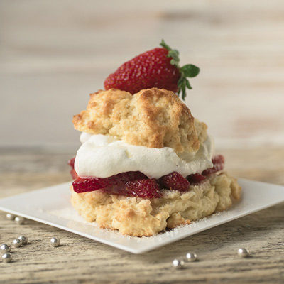 front picture of fresh strawberry shortcake with fresh strawberries