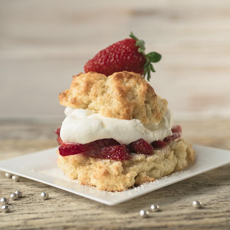 closeup of fresh strawberry shortcake