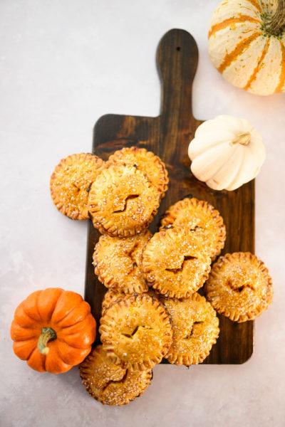 overhead view of pumpkin hand pies an easy Thanksgiving dessert