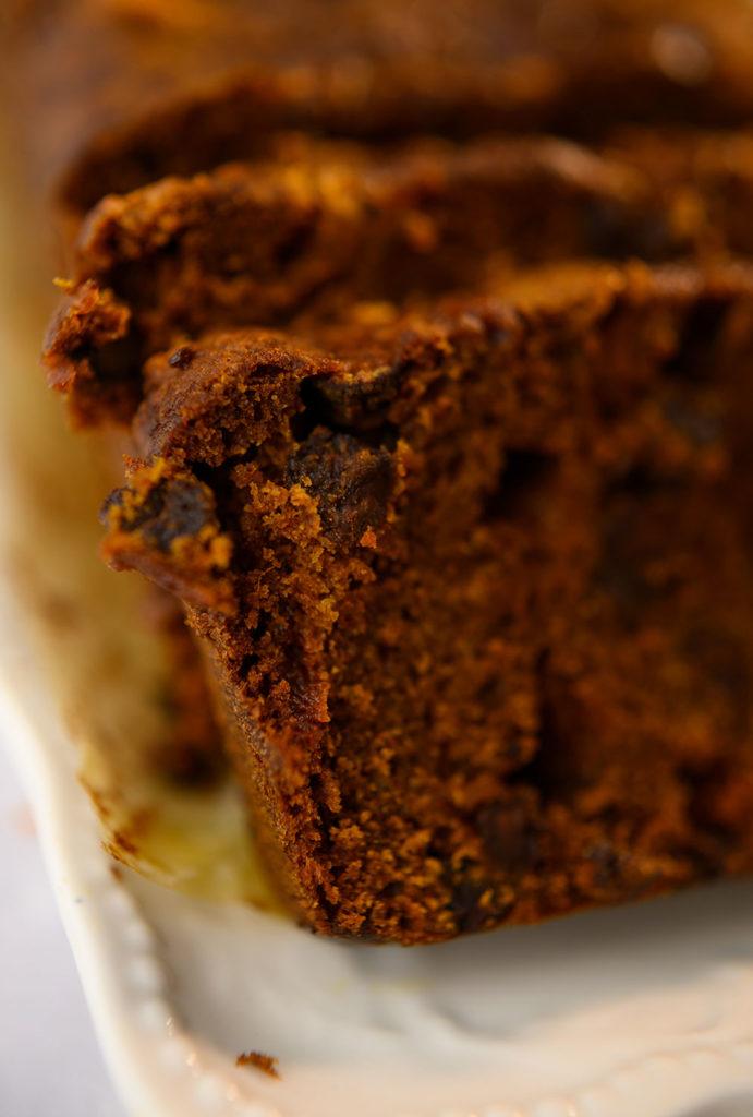 close up of sliced pumpkin bread