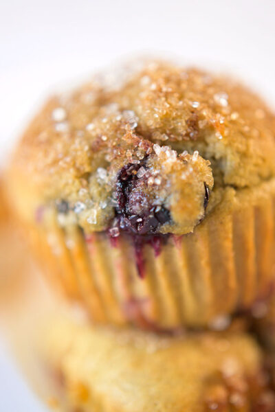 closeup of blueberry muffin