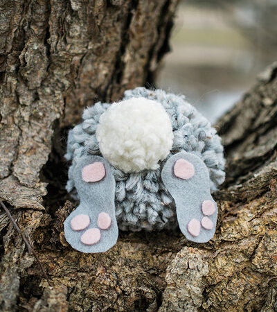 pom pom bunny in a tree