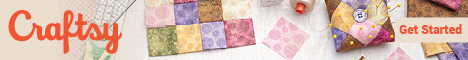 banner ad from craftsy featuring an overhead picture of quilt blocks