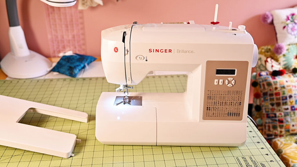 sewing machine on a clean sewing table