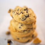 cookie stack of thick, soft baked chocolate chip cookies