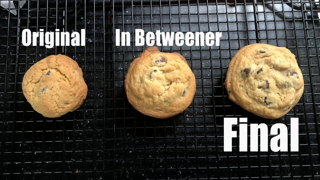 3 versions of the cookies as the recipe became more refined
