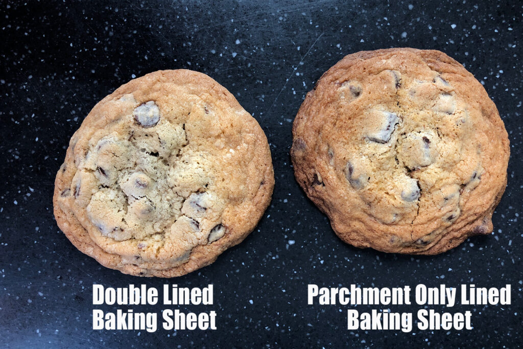 two cookies side by side showing the differences in using the recommended or not recommended baking sheet