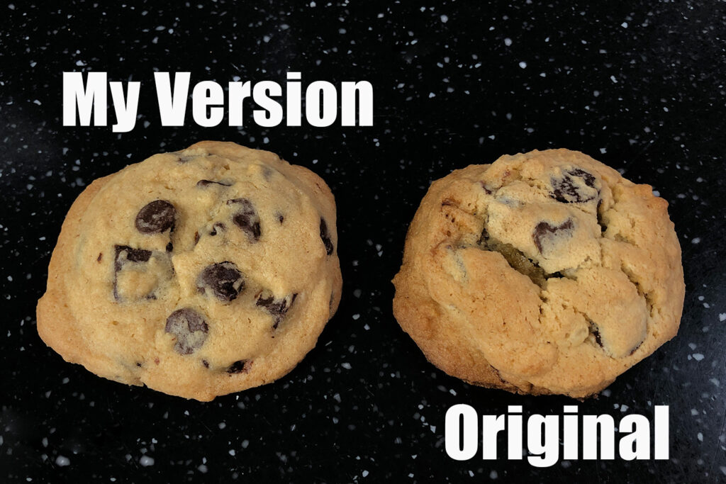 Two cookies side by side showing the differences in recipes