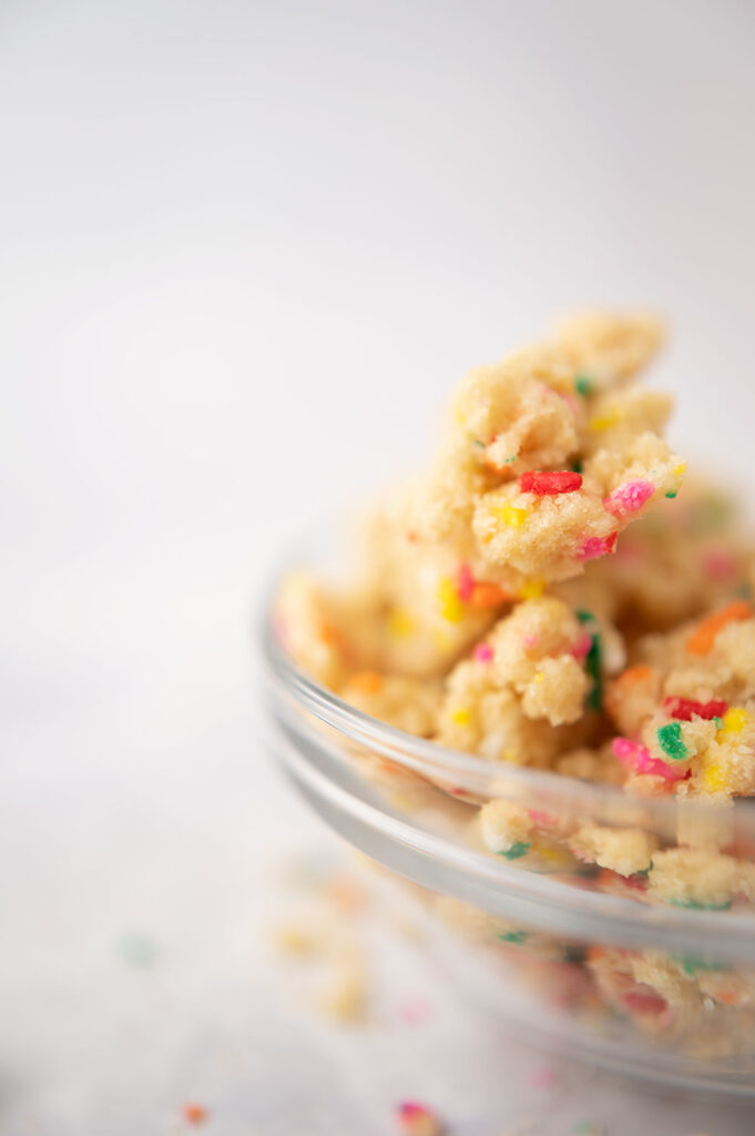 closeup of multi colored crumbles