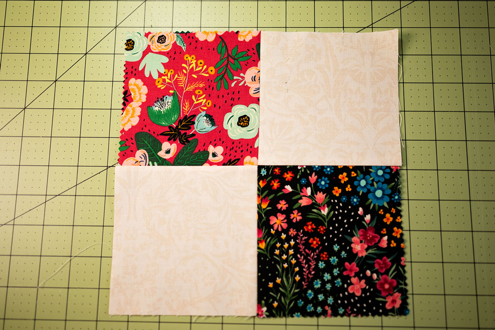 4 squares of fabric sewn together in one quilt block called the 4 patch