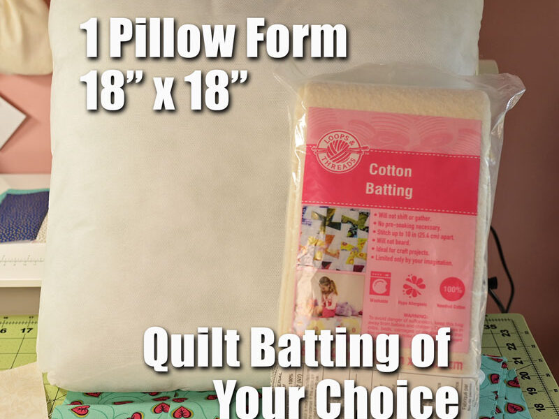 image of a pillow form and a bag of quilt batting