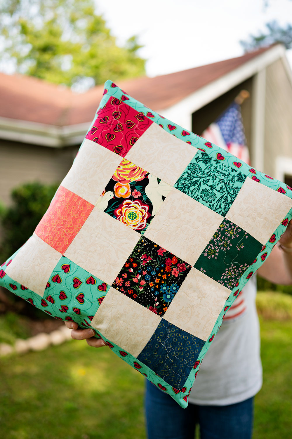 multi color patch work cushion