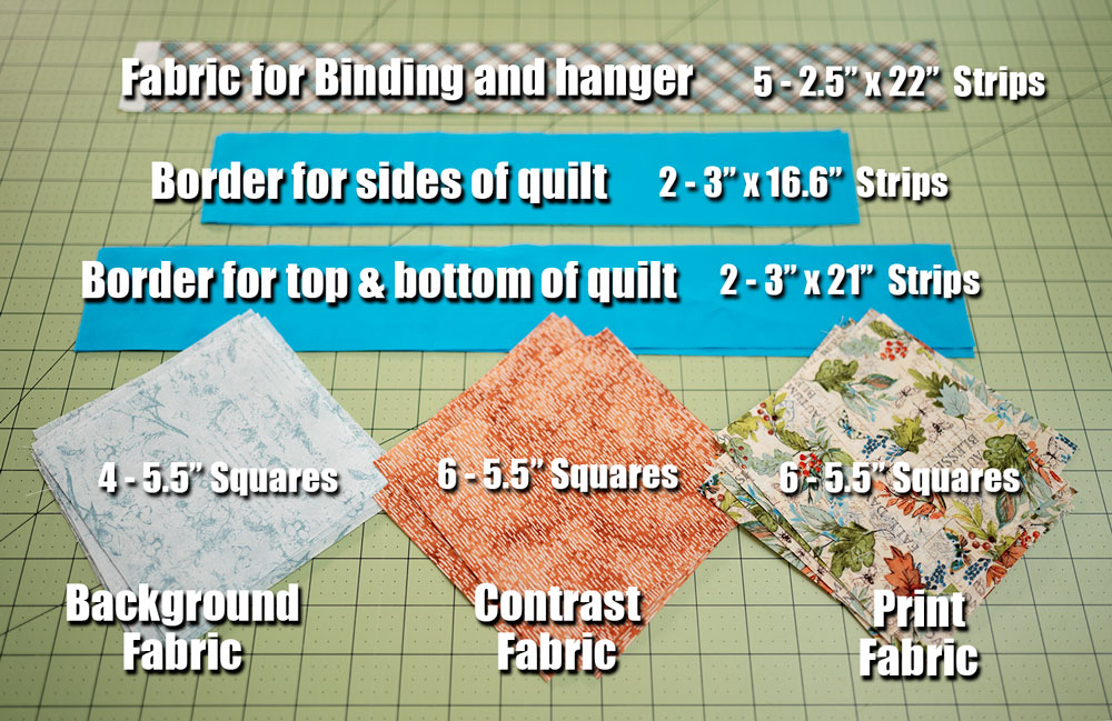 diagram showing the fabric cuts and sizes for the ribbon star quilt