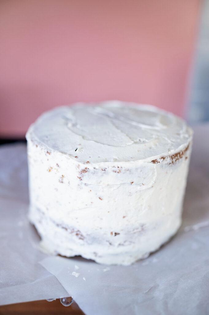 crumb coated layer cake