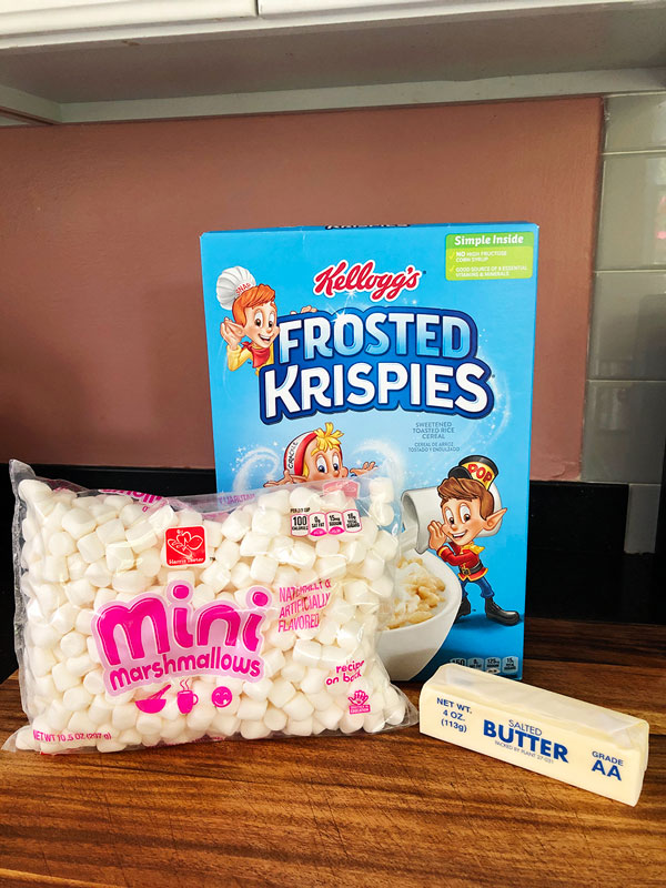 The main ingredients for Rice Krispies treats; mini marshmallows, butter and rice krispies