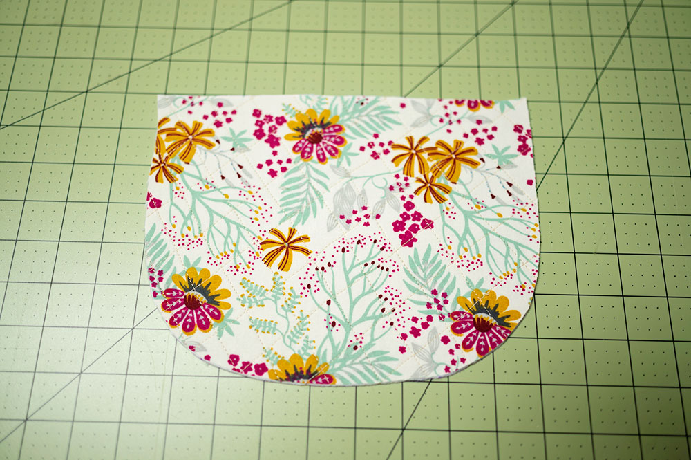 outside panel of the zipper pouch project placed right side up and ready for assembly into the pouch
