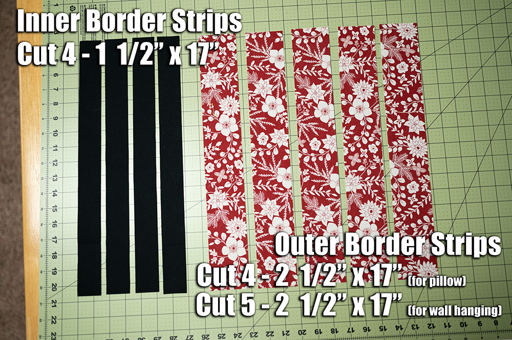 overhead view of strips to cut for piecing in the tree quilt block