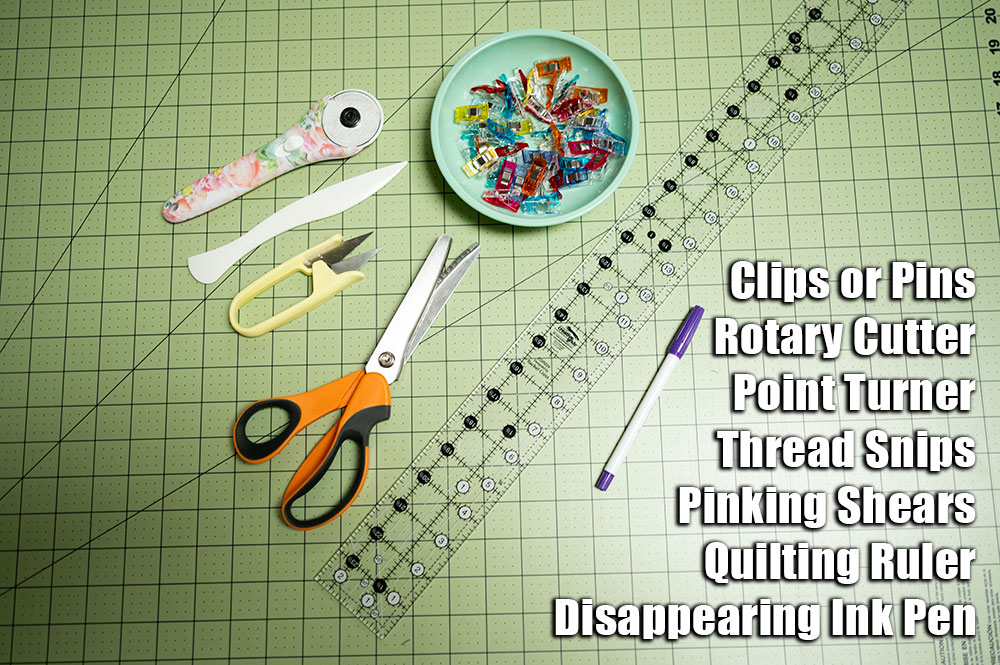 Tools needed to cut and piece the tree quilt block