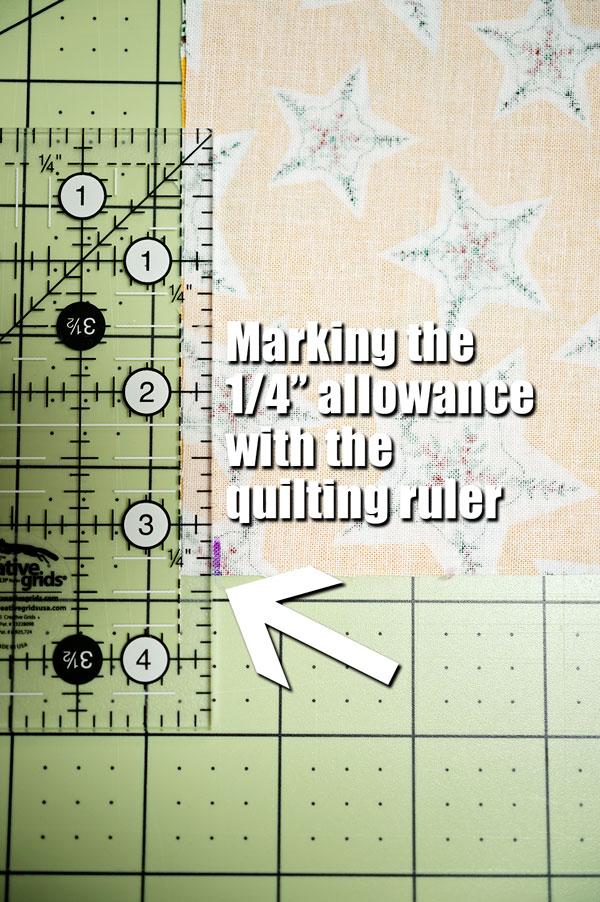 close up of marking a 1/4 inch seam allowance