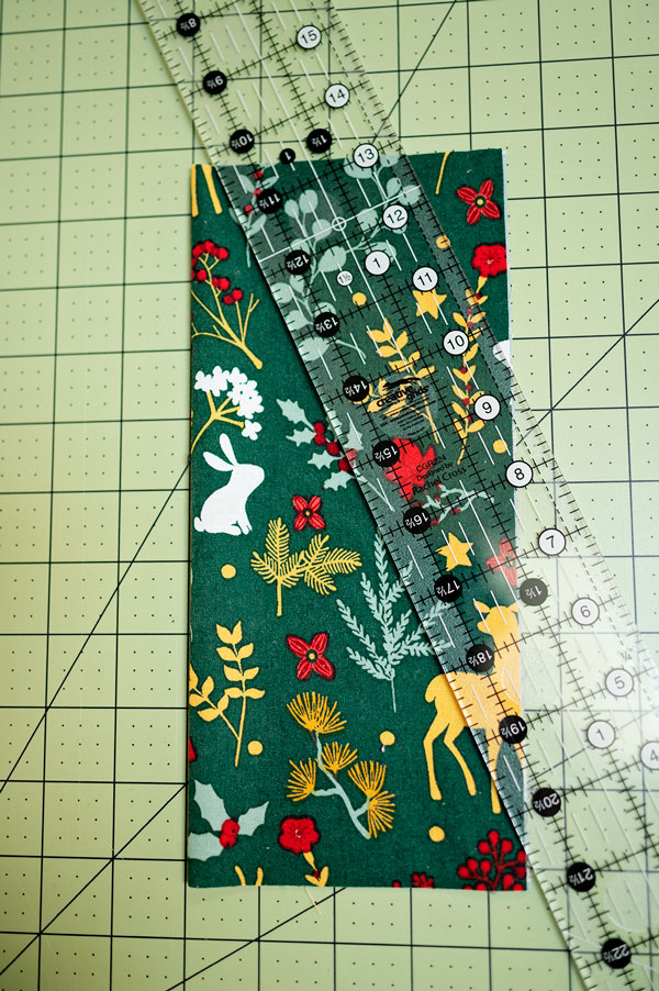 quilting ruler on fabric ready for cutting