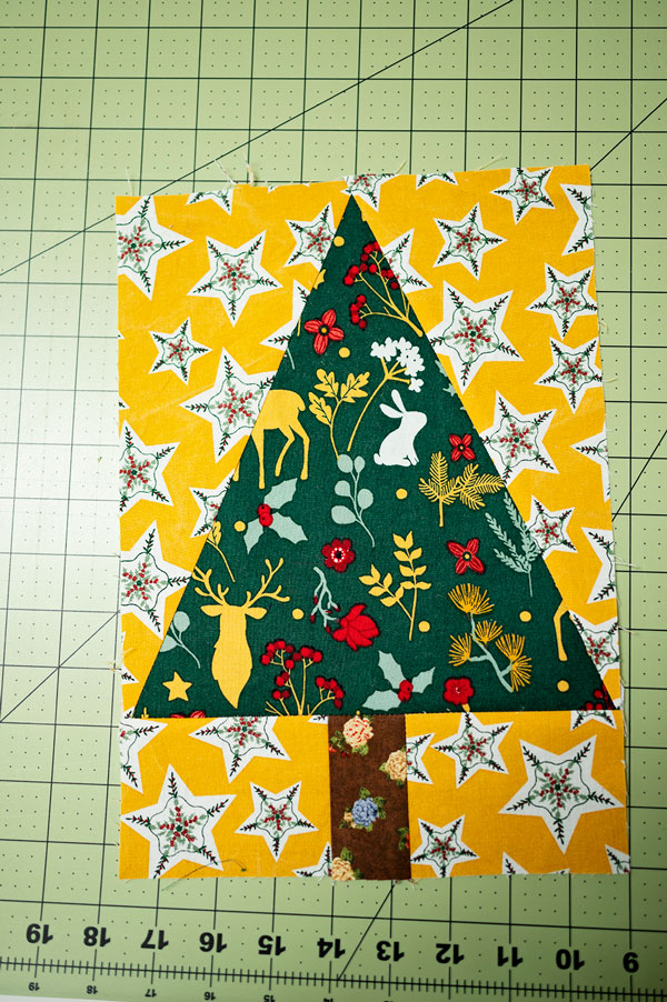 A pieced tree block ready for a project