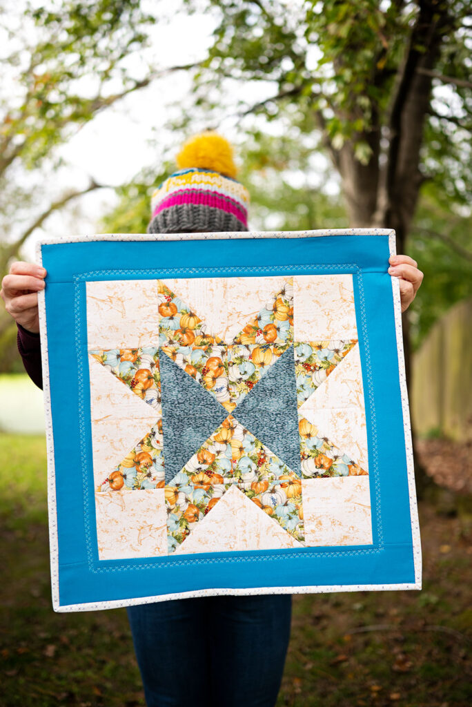 Star Quilt Block sewn as a small wall hanging