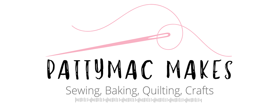 Logo illustration for Pattymac Make with a pink sewing needle and thread
