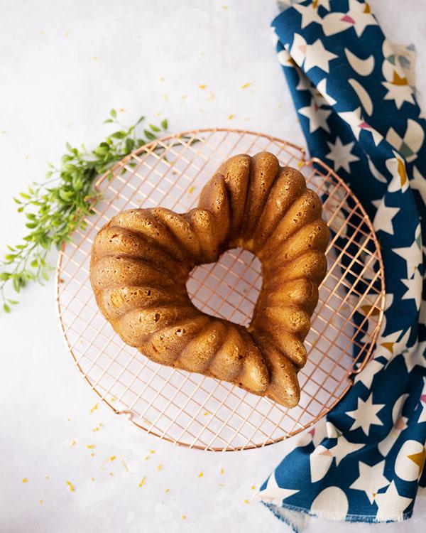 overhead view of a cake shaped like a heart