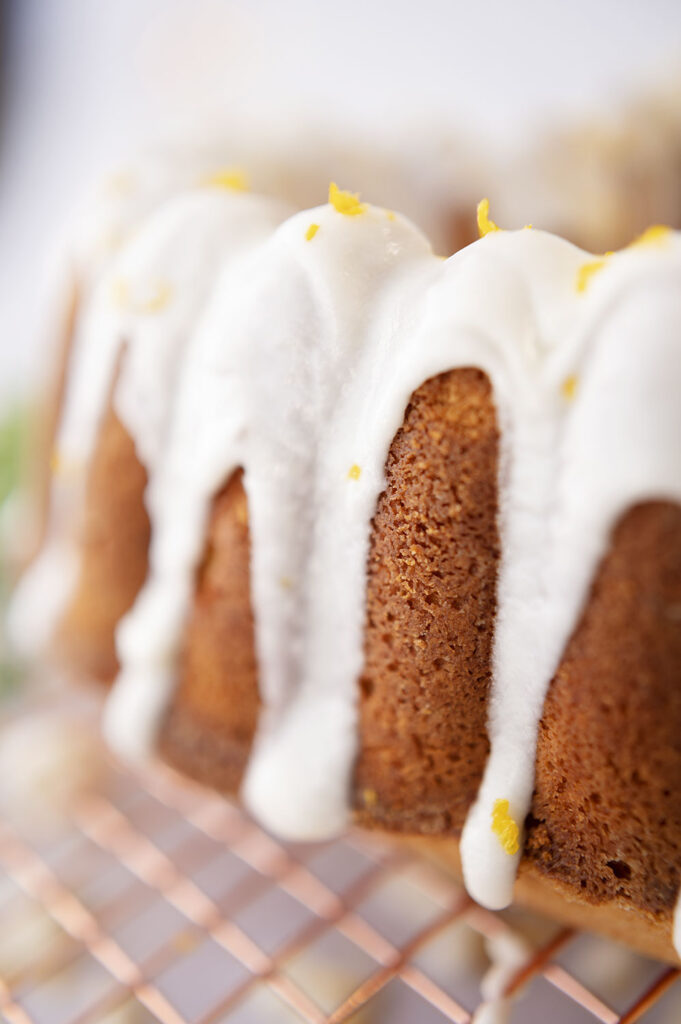 closeup look at the the glazed surface of a bundt® cake