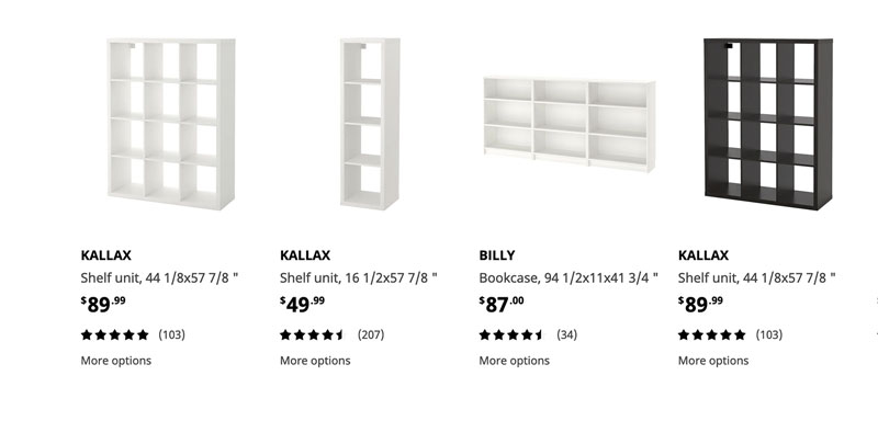 a screenshot of different bookshelves from Ikea