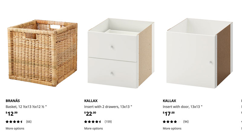 a screenshot of different inserts from Ikea