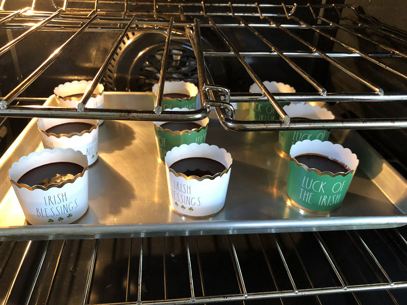 free standing cupcake cups in the oven