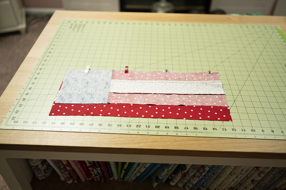 fabrics shown right sides together and secured with wonder clips