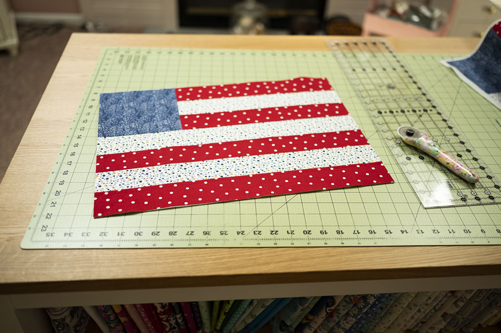 quilt block in the design of an American Flag