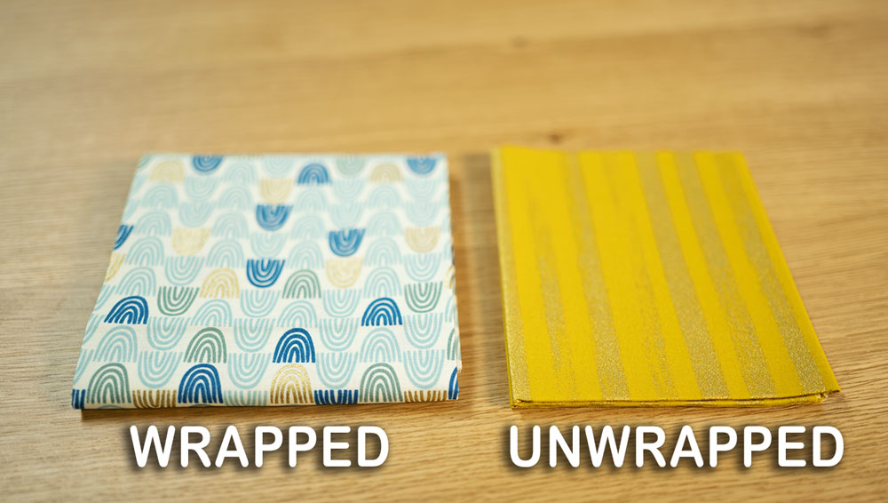 two fabrics side by side noted as wrapped or unwrapped
