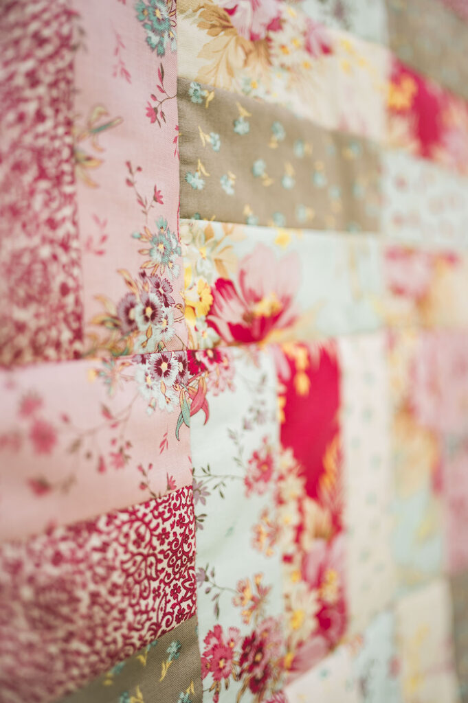 close up view of a patchwork quilt pattern