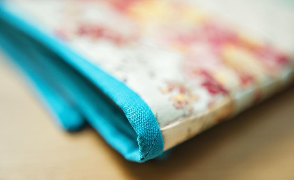 closeup of blue quilt binding