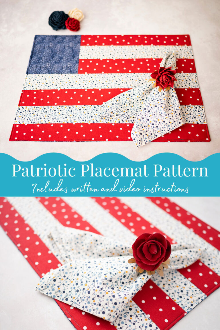 two pictures of a quilted placemat designed to look like an American flag shown with a coordinating fabric napkin