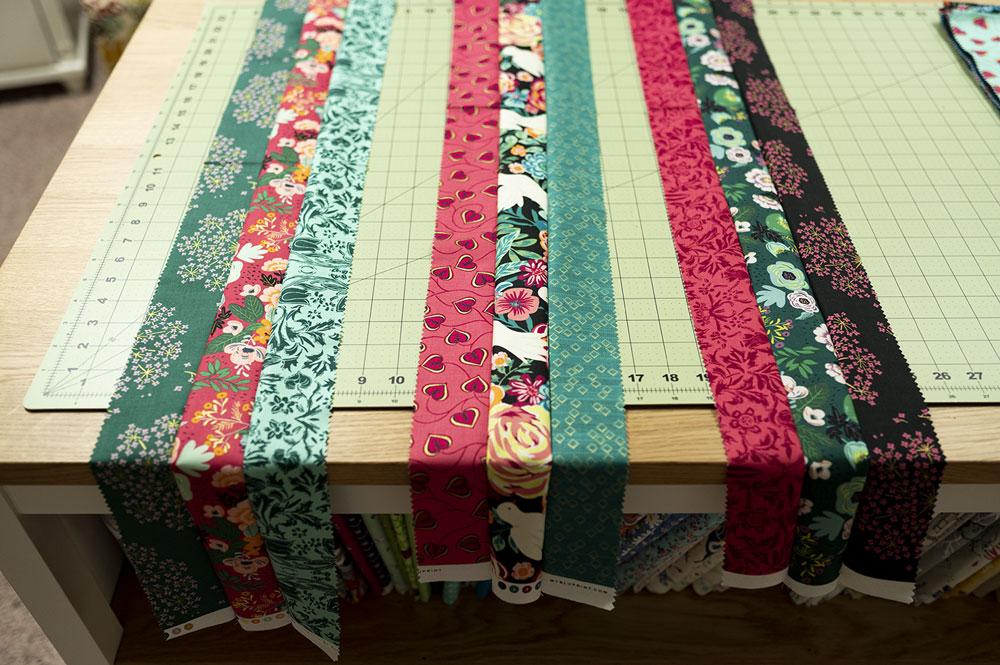 three sets of three fabrics pieced together