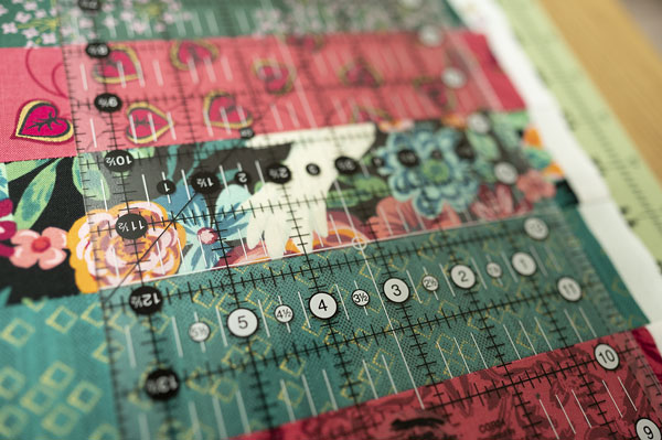 quilting ruler on fabric