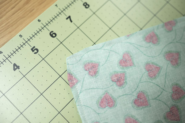 closeup of inside of placemat showing clipped corner