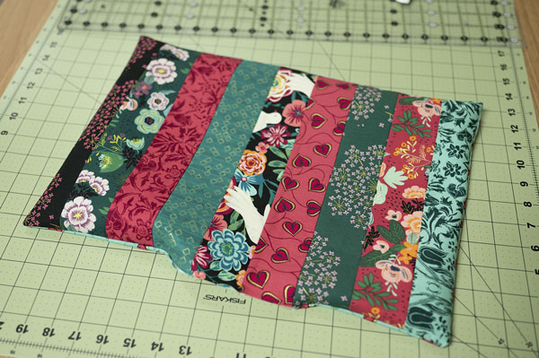 placemat turned right sides out and ready for finishing