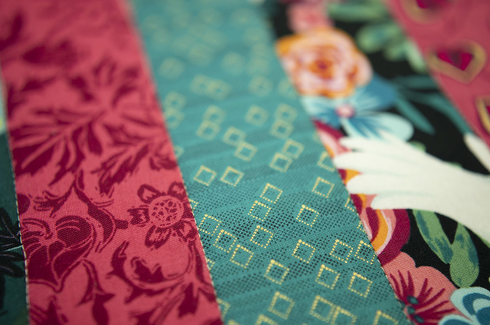 closeup of colorful strips of fabric