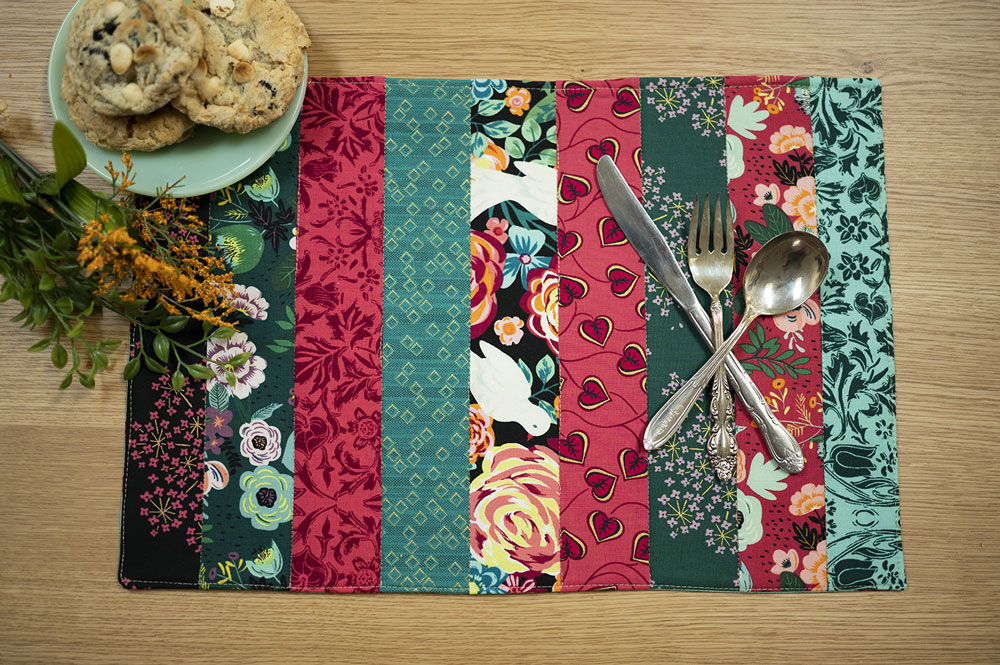 overhead view of colorful placemat and cookies