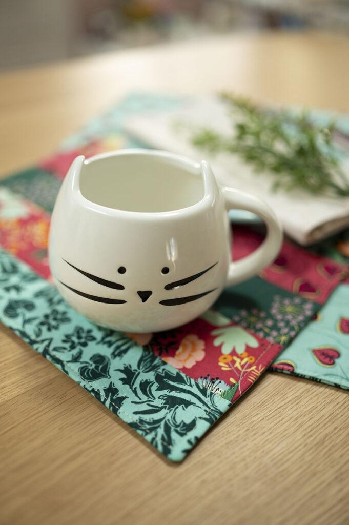 close up of cat mug